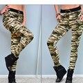 Nueva Señoras de La Manera Pantalones Ocasionales Femeninos Pantalones Militares Del Ejército Apretados Elásticos de la Alta Cintura Lápiz Pantalones de Camuflaje para Las Mujeres P20