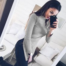 Solid Color Korean Women Casual Oversized  Sweater Autumn Winter Knitted Jumpers Tops Knitwear