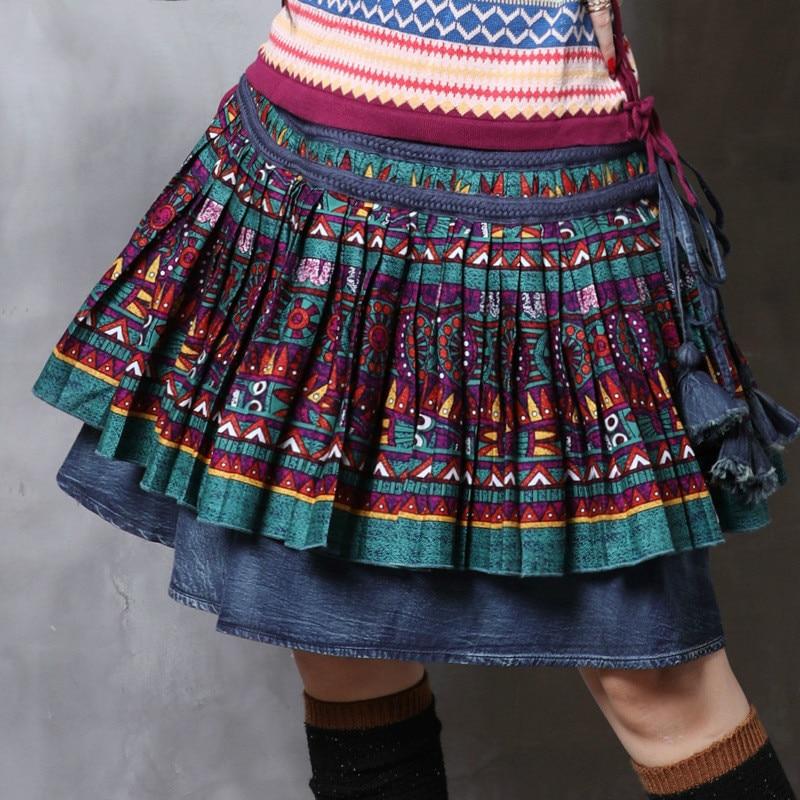 Mujer Las Color Vintage Mujeres Denim Photo De 2019 Alta Y Indie Verano Moda Falda Primavera Calidad Folk Faldas wYxTOq45B