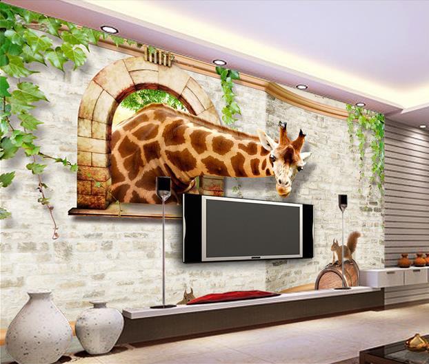 Non Woven Wallpaper Brick Giraffe Squirrel 3d Papel De Parede Wall Sticker Wallpapers Factory