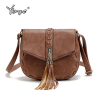YBYT Brand 2017 New Women PU Leather Tassel Vintage Casual Bag Ladies Small Knitting Package Shoulder