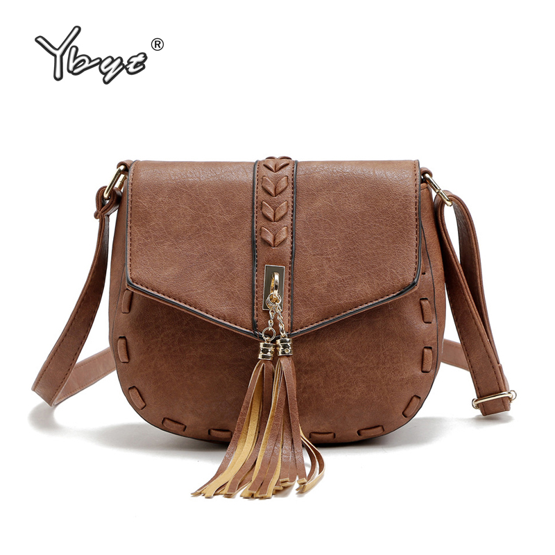 YBYT brand 2018 new women PU leather tassel vintage casual bag ladies small knitting package shoulder messenger crossbody bags new summer brand women messenger bag pu leather women shoulder bag lady vintage small crossbody bags