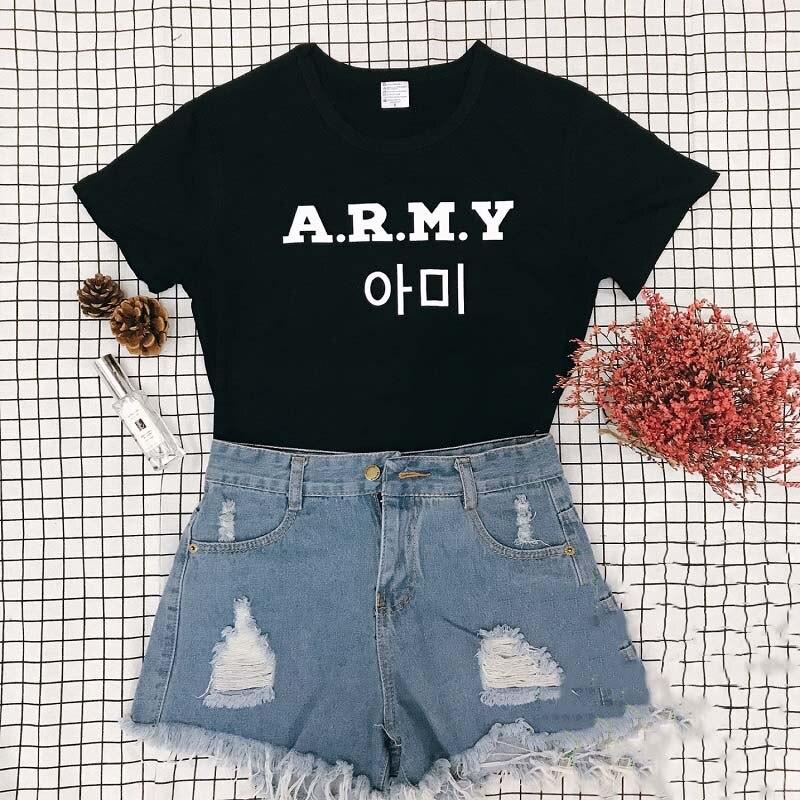 Sugarbaby Coréia Moda Streetwear Hip Hop A.R.M.Y BTS T-Shirt Gráfico Do Tumblr Fresco camisa Carta Impressão Tees Tops do navio Da Gota