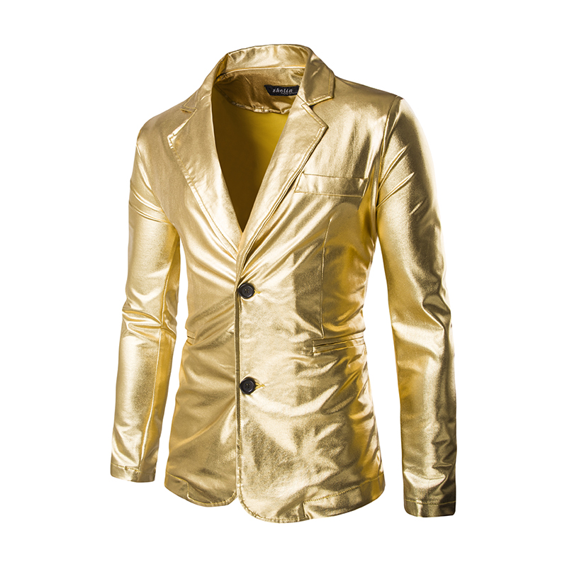 Men's Nightclub Bar Singer Fashion Jacket Gold Metallic Silver Black Shiny Suits Stage Performance Buttons Slim Party Costumes