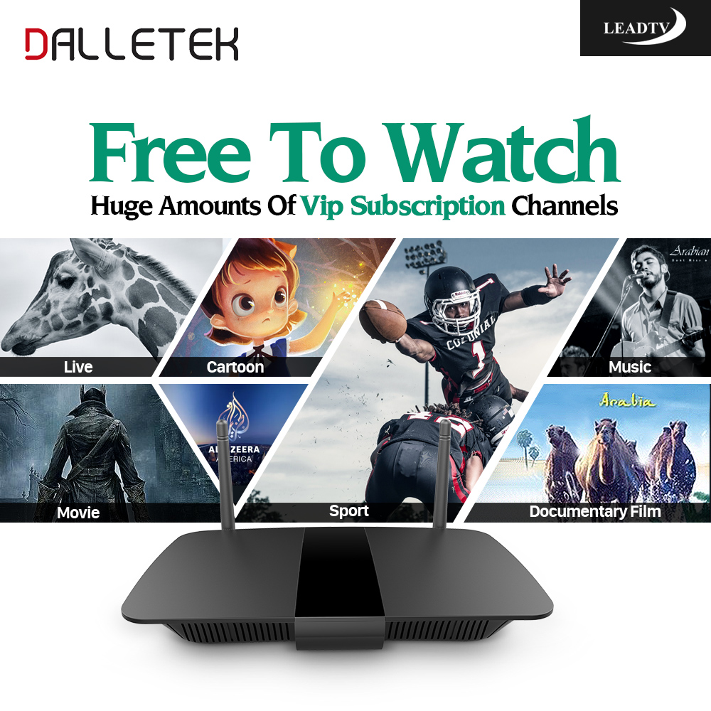 Dalletektv Android TV Box 700 Free Iptv Channels for Arabic Europe Italy Quad Core 1G/8G 2.4Ghz WiFi H. 265 Smart Media Player dalletektv leadcool android smart tv box cortex a7 quad core 1g 8g h 265 with iptv europe uk french italy channel subscription