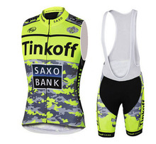 Flour Yellow Sleeveless Cycling Jerseys/Tinkoff Breathable Bike Clothing/Saxo Bank Quick Dry Roupa Ciclismo Bicycle Clothes
