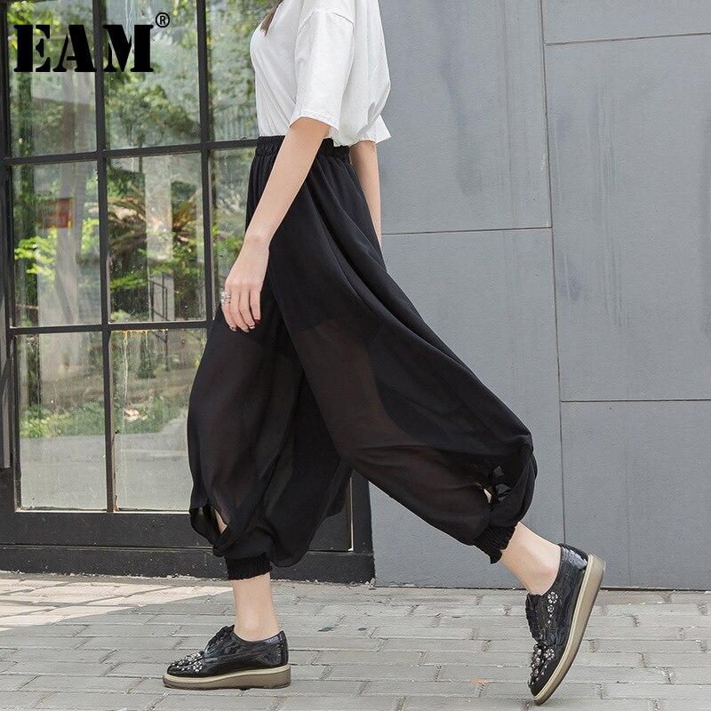 [EAM] 2020 Spring Autumn Woman Stylish Black High Waist Elastic Waist Draped Hollow Out Loose Chiffon Wide Leg Pants LE520
