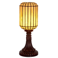 Retro Chinese Style Flower Stained Glass Tifffanylamp Resin LED Bedside Desk Table Lamp Light Office Hotel
