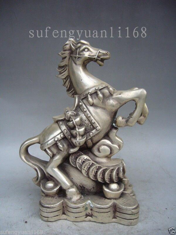 Statue de cheval en argent tibétain de 7.6