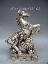 7.6 «Коллекционная Оформлен Старый Ручная Тибет Серебряные Верховая статуя