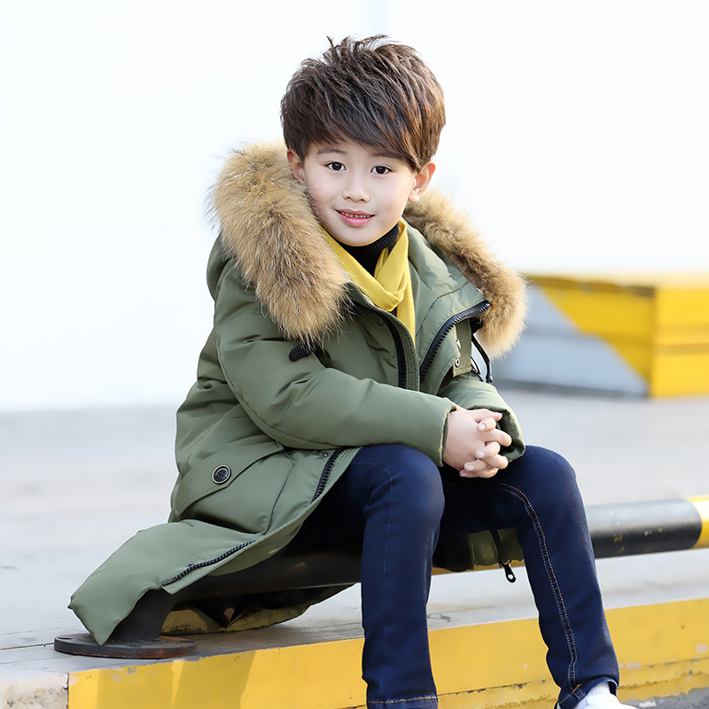 все цены на fur hooded kids long down coats boys winter 2018 children thick jackets kid warm outerwear & coats for teenagers clothing 6 8 10
