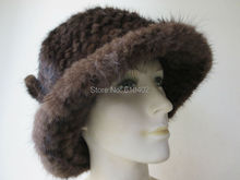 free shipping Lady s Genuine Real Mink Fur hand made knitted Top Hat brown