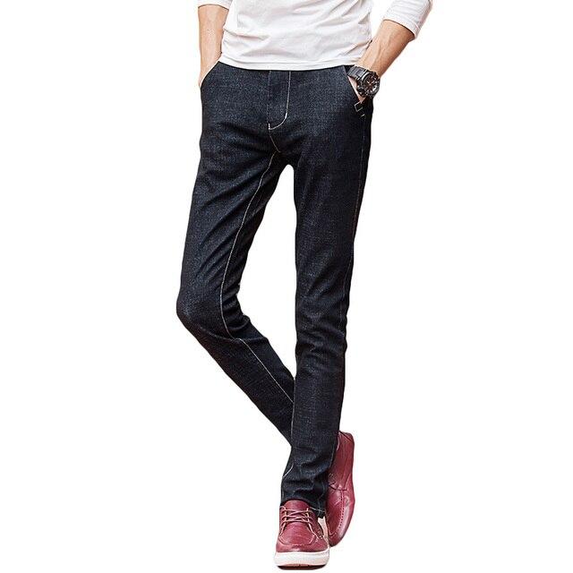 cac5a0976c1 Черные джинсы мужские брюки хорошее Stretch Slim Fit мужские узкие джинсы  2018 Новые осенне-зимние