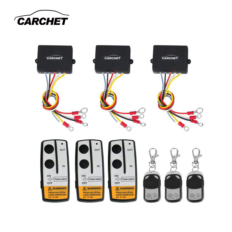 CARCHET Winch 12V 50ft Wireless Winch Remote Control Kit 12V Switch Handset for Jeep Truck SUV