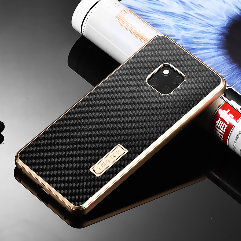 iMatch Real Carbon Fiber Aluminum Metal Case For Huawei Mate 20 Pro Luxury Full Protection Back