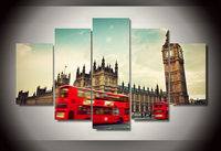 Fashion HD Printed Red Bus Street Wall Paintings Modern Building Canvas Paintings Living Room Home Decor