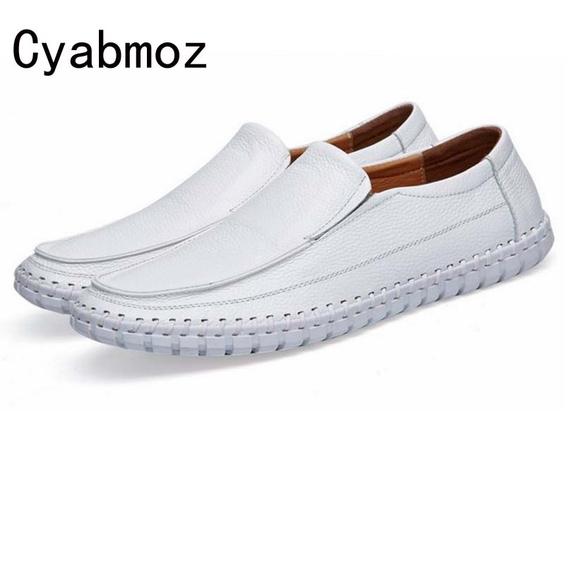 Flats New Arrival Casual Men Genuine Leather Slip-on loafers Driving Shoes Plus size 38-47 Handmade Sewing Soft Moccasins Shoes new men loafers casual summer shoes fashion genuine leather slip on driving shoes soft moccasins holes comfort light mens flats