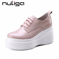 Nuliga genuine leather round toe lace up high wedges bottom korean girls concise sweet party woman vulcanized basic shoes L1f9