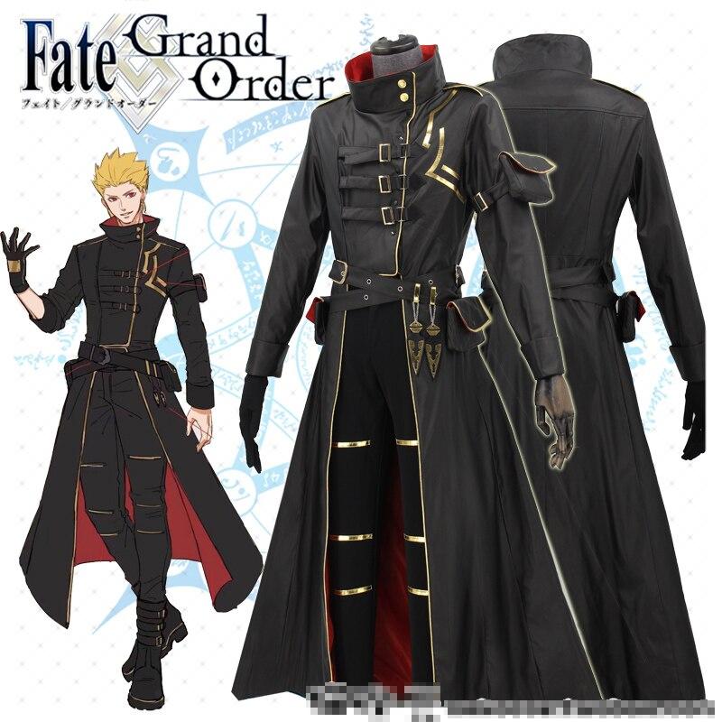 Anime Fate Grand Order FGO Gilgamesh Glittering Ceremonial Gothic Trench Uniform Cosplay Costume Halloween Suit Free