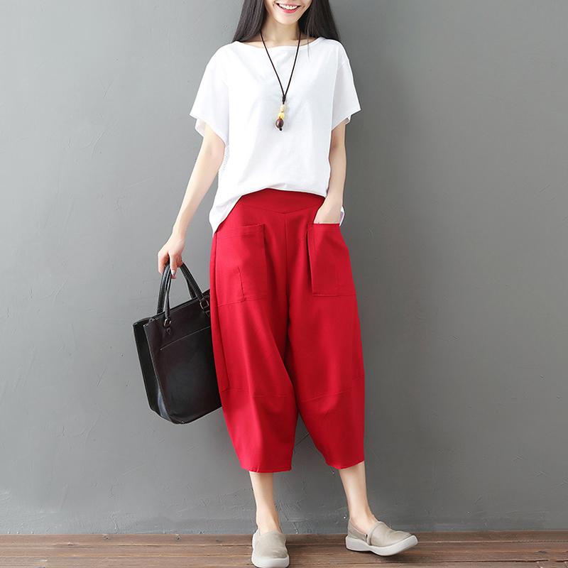 Fashion Women Summer Harem Pants Solid Elastic Waist Pockets Wide Legs Baggy Loose Casual Tapered Trousers Femme Pant 2019