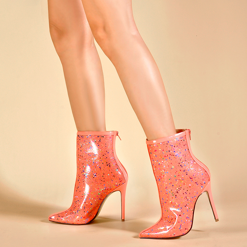 Mujeres Pvc Perspex De Para Black Alto Mujer Botas Zapatos Tacón Estrellas Claros Impermeable Sinsaut Tobillo Niñas Dulcemente Impresión pink FqgB77