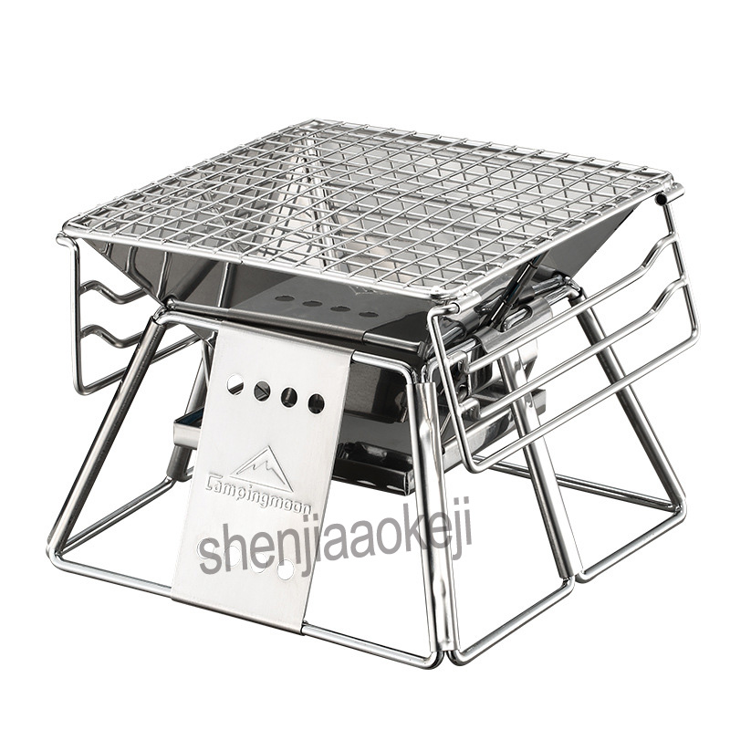 цена на Outdoor Exquisite Portable BBQ Oven Household barbecue Grill Stainless Steel Mini Barbecue furnace 1pc
