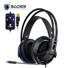 SADES Diablo Realtek Headphones Virtual 7.1 Surround Sound Headset Volume and RGB Light Headphone with Retractable Microphone