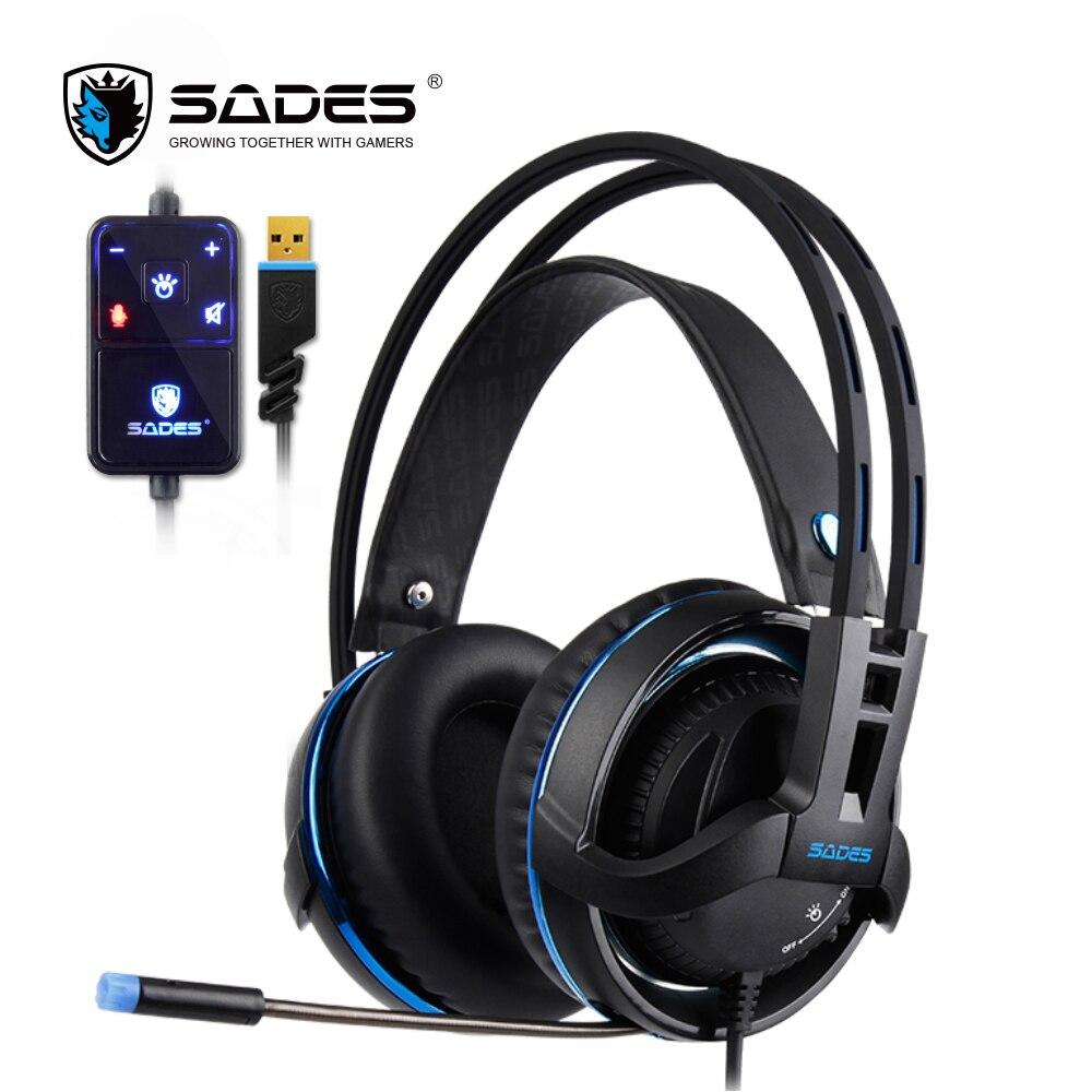 Sades Diablo Realtek эффект наушники Surround Sound Gaming Headset объем и RGB легкие наушники с выдвижной микрофон