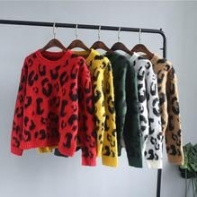 Women Leopard Print Knitted Jumpers Tops Woman Soft Printted Knitting 5 Color Sweaters