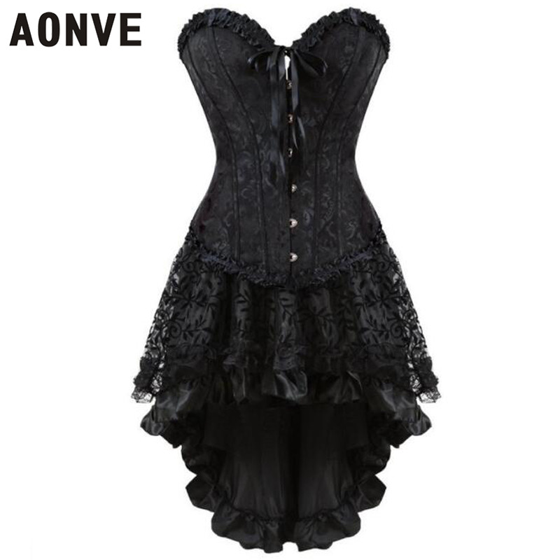 AONVE Sexy Black   Corsets   And   Bustiers   For Women Wedding&Party Waist Trainer Slimming Shaperwears Corslet Suits Body Suit