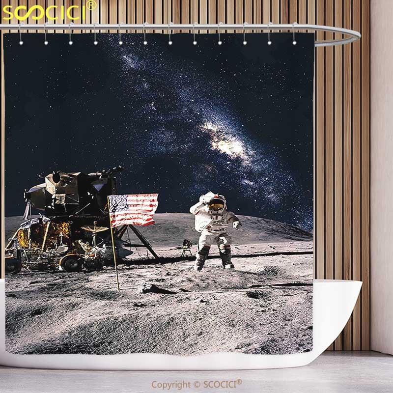 Cool Shower Curtain Galaxy Astronaut on Rocky Surface of Moon American Flag USA Rocket Traveling Space Artprint Grey Navy Blue zwbra shower curtain