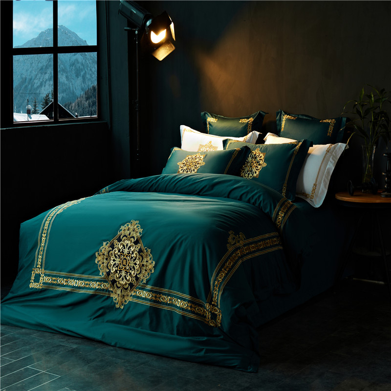 Papa&Mima green egyptian cotton Bedding Set king queen size Embroidery Bed Linens Quilt Cover Pillowcases Bedsheet