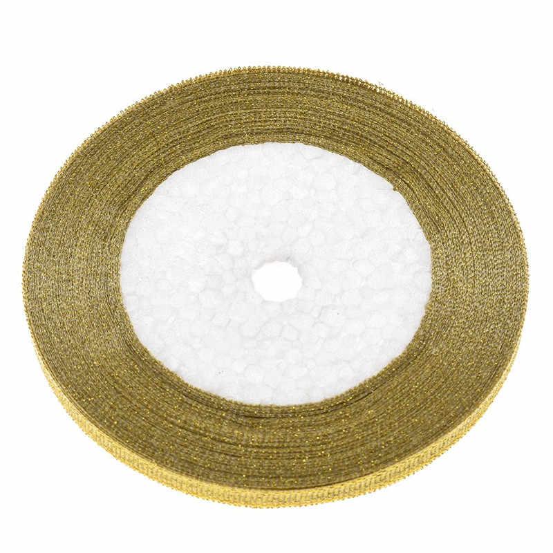 2020 25 หลา 6mm แฟชั่นผ้าไหมซาตินริบบิ้น DIY งานแต่งงานตกแต่งภายในบ้านของขวัญห่อทอง/เงินการจัดส่ง