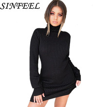SINFEEL Autumn Winter Knitted Dress Women Turtleneck Long Sleeve Thin Sweater Dress Casual Solid Bodycon Mini Dresses Vestidos цена