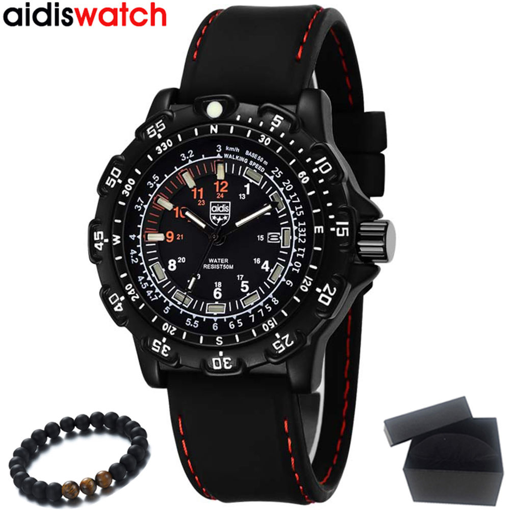Top Luxury Brand AIDIS Mens Watches Cool Sports Military Watches Waterproof Outdoor Glowing Quartz Watch Men Relogio Masculino ibso outdoor leisure sports watches for men genuine leather band quartz mens watches 2018 fashion waterproof relogio masculino