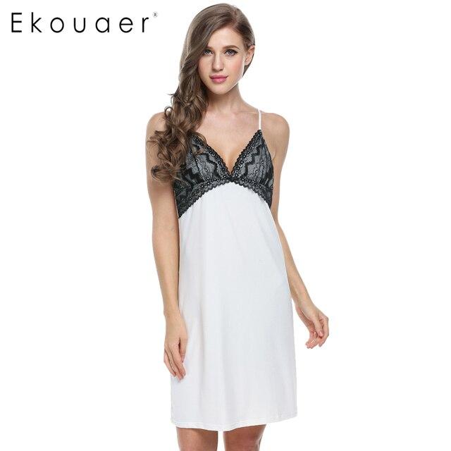 Ekouaer Hot Vendas Vestido de Noite Das Mulheres Sexy Sleepshirt Pijamas Sono vestido Sem Mangas Casa Roupas Com Decote Em V de Renda Verão Plus Size