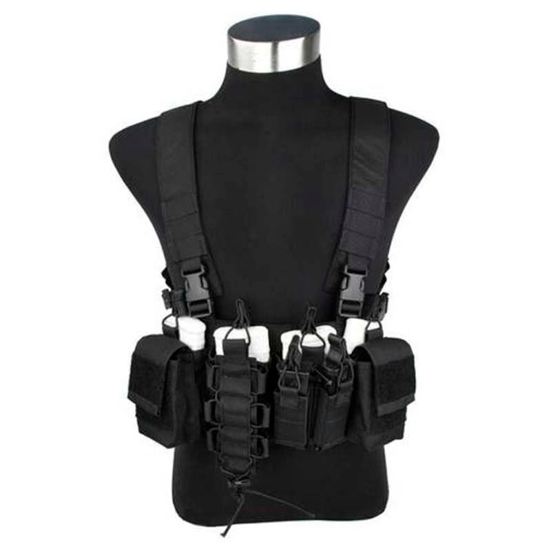 TMC Black CB D-Mittsu Chest Rig Outdoor Tactical Vest D3-CR 556 Chest Rig 500D Cordura