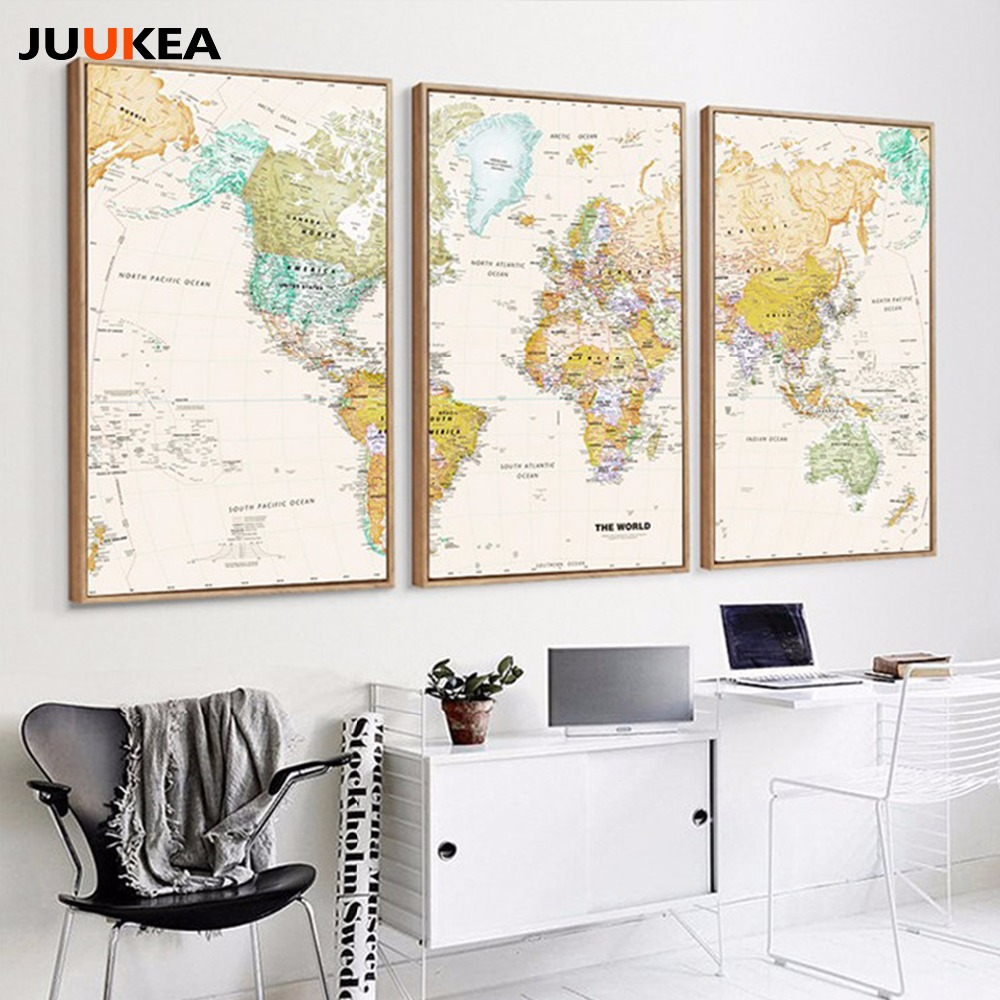 3 panel Unique Vintage HD WORLD MAP Canvas Painting Printing Poster ...