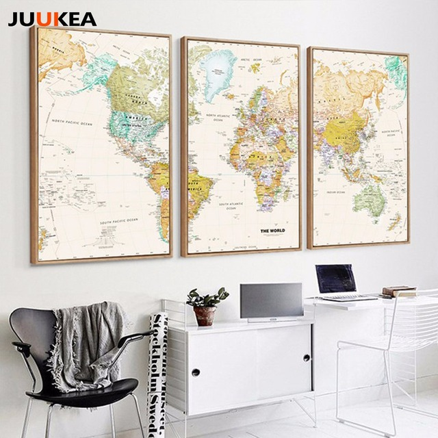 Aliexpress Com Buy Unframed 3 Panel Vintage World Map: 3 Panel Unique Vintage HD WORLD MAP Canvas Painting