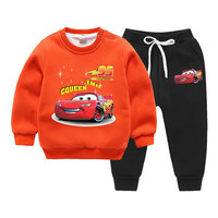 Winter Clothing Cartoon Printed Baby Long Sleeve Thicken Velvet T shirts + Trousers Two Sports Sets toddler boys clothing set