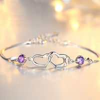 MOROW Fashion 100% 925 Sterling Silver Purple Zircon Double Heart Design Women Bracelet Engagement Party Jewelry for Lover Gift