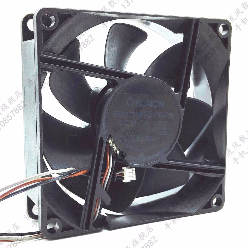 EP6127A Fan SUNON Cooling Fan EE80251S1-D170-F99 DC 12V 1.7W 3-pin 3-pin Connector 80mm 80x80x25mm Server Square Fan