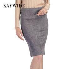 KAYWIDE 2017 Women Suede Midi Skirt Female Spring Summer Multi Color Basic Tube Bodycon Pencil Skirts Saia Femininas S161207