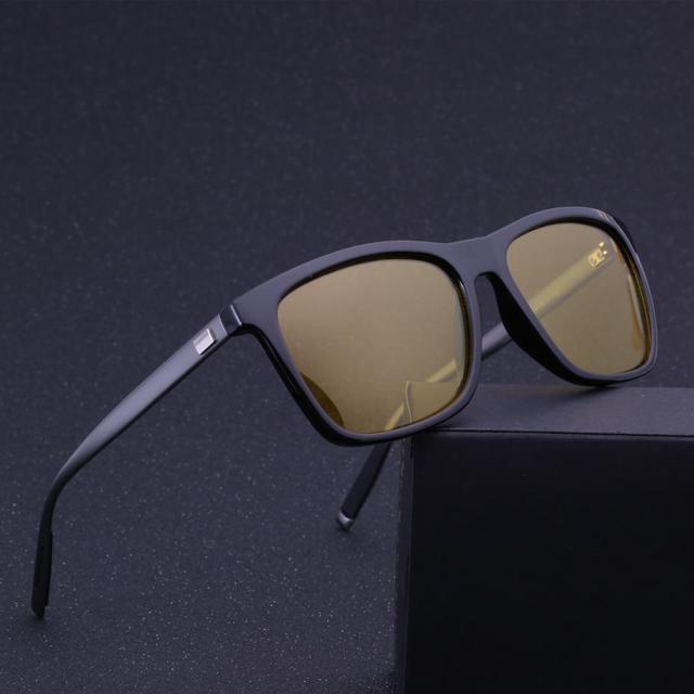 Conduite de nuit lunettes de Soleil Polarisées Cadre En Aluminium Jaune  Lentilles Vision Nocturne Lunettes De 6d04e573b60f