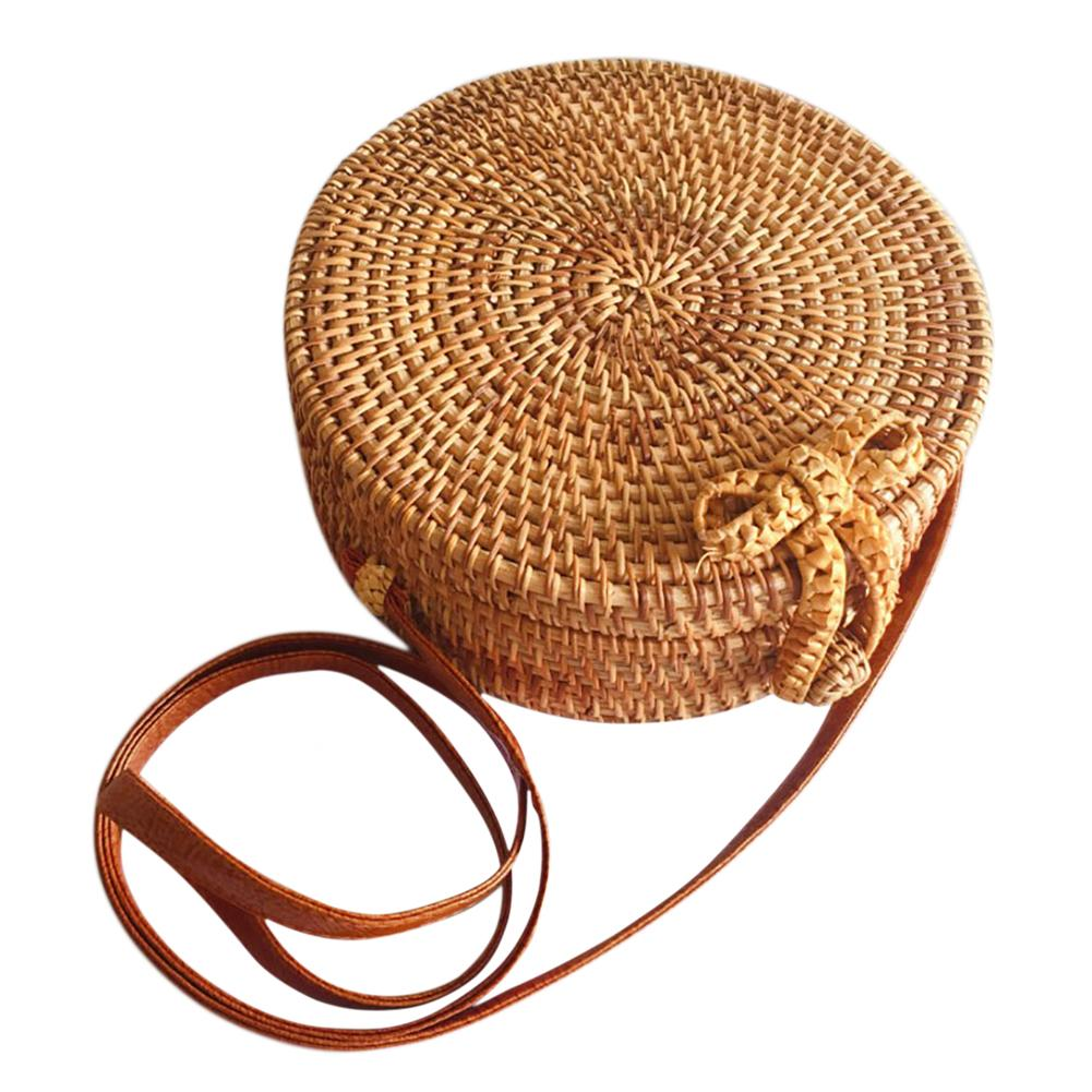 Round Bow Straw Bag Bohemia Style Handmade Vintage Fashionable Rattan Woven Circle Handbags Butterfly Buckle Single Shoulder Bag Storage Bags     - title=