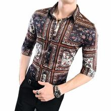 Casual Social Shirt for Men Vintage Print Stage Blouse Man Half sleeve Hawaiian Fashion Summer New