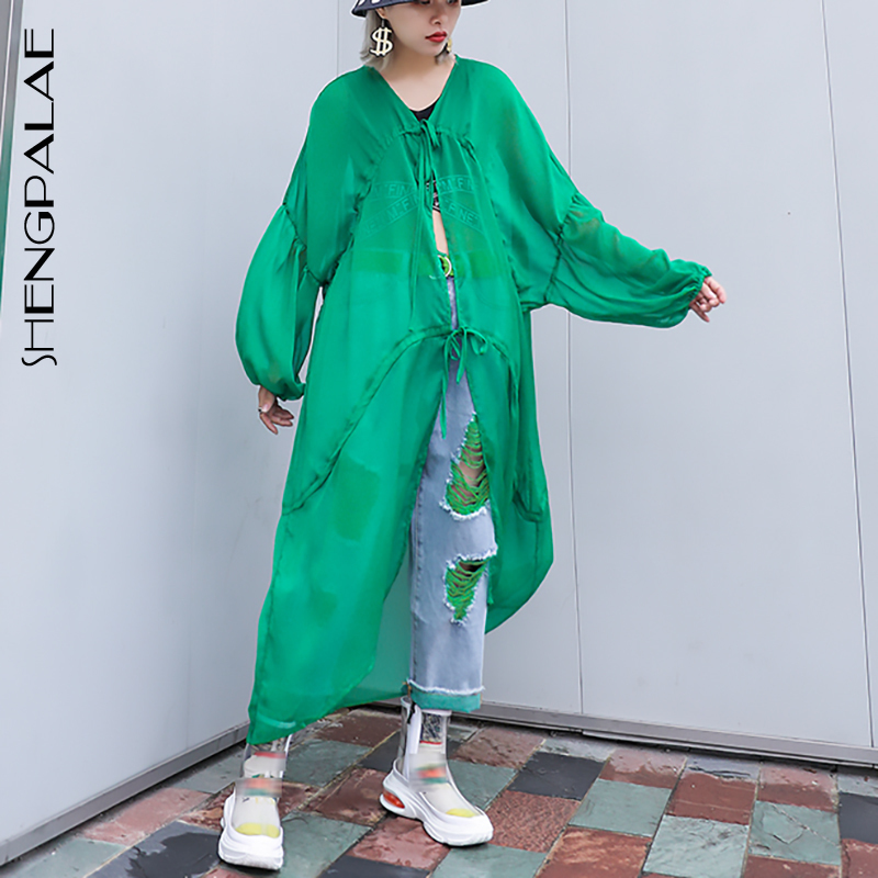 SHENGPALAE Long New Spring Summer V-collar Long Sleeve Green Loose Big Size 2019 Thin Windbreaker Women   Trench   Fashion JU626