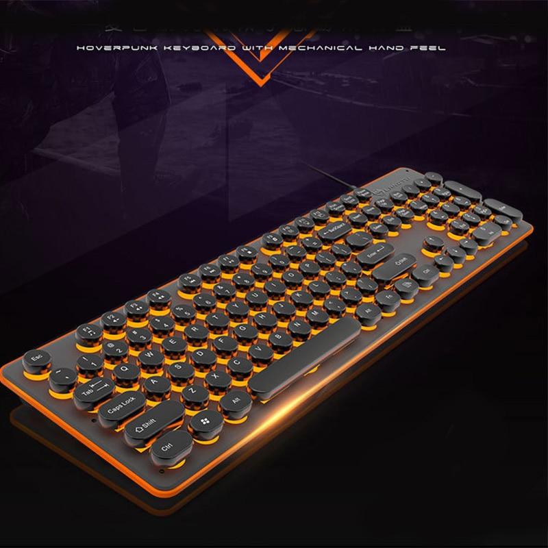 USB LED Backlit Retro Typewriter Mechanical Keyboard  Round Keycaps -104 Keys Vintage Inspired Steampunk Gaming Keyboard For PC