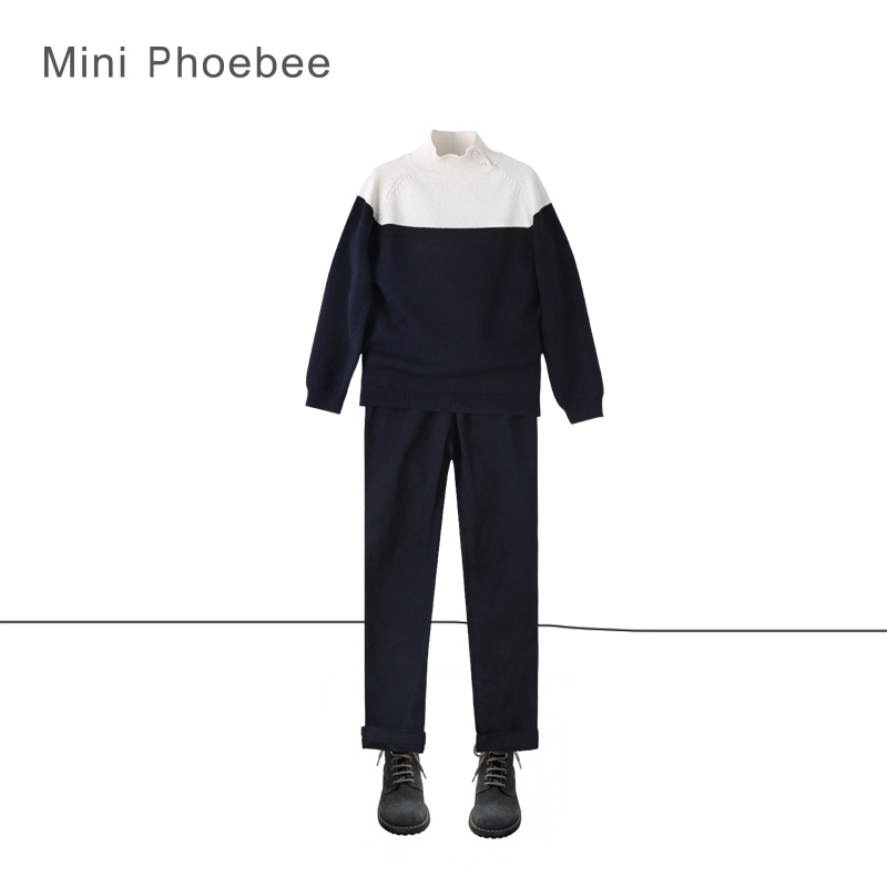 brand phoebee 3-8 years boy winter knitted suit include sweaters and pant winter sweater suit knit  White black children suit