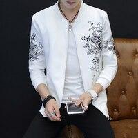Korean Men Autumn Jacket High Quality Fashion Print Bomber Jacket Men Stand Collar Slim Fit Long